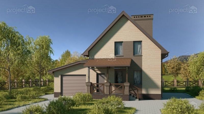 Проект малого мансардного дома из блоков с гаражом 112-C